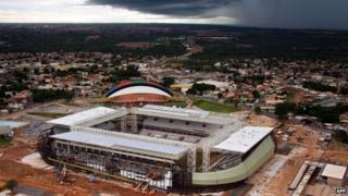 An aerial view of the Arena Pantanal soccer stadium in Cuiaba in May 2014