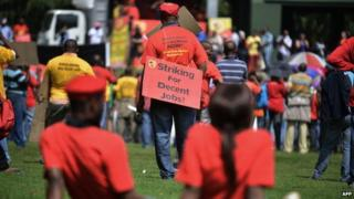 Striking workers in South Africa