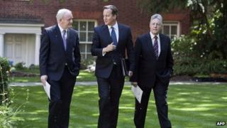 David Cameron meeting DUP leader Peter Robinson and deputy Sinn Fein leader Martin McGuiness in Downing Street in June 2013