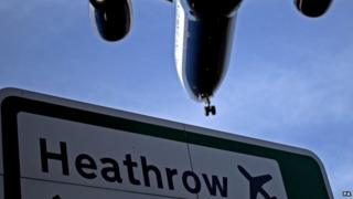 Plane flying over a Heathrow Airport sign