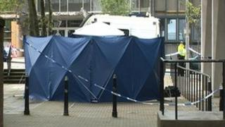 The police cordon at Seamount Court
