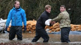 Prince William and Harry help flood effort in Berkshire