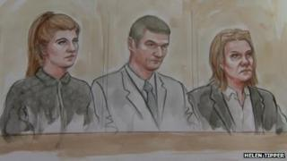 Court drawing - Kathryn Smith, Sean Booth and Anita Cregan
