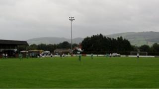 Maes-y-dre ground of Welshpool Football Club.