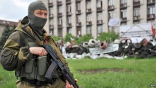 Pro-Russian militant in Donetsk - 13 May