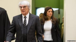 Bernie Ecclestone arriving in court