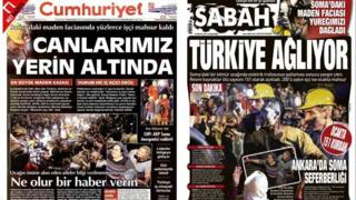 Front pages of Cumhuriyet and Sabah