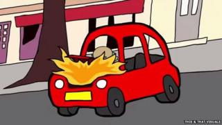 "A screenshot from the animated video ""The luckiest unlucky man to ever live"" by This & That Visuals showing Franke Selak with his car on on fire"