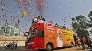 The BJP's supporters are celebrating their party's victory