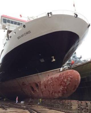 Ferry in dry dock
