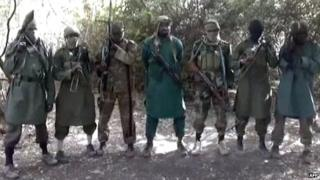 A picture taken from a video showing Boko Haram's leader Abubakar Shekau and other fighters - 5 March 2013
