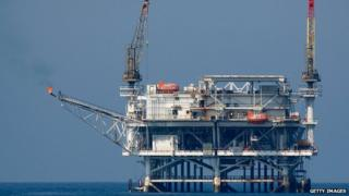 An oil rig platform off the California coast
