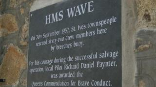 St Ives HMS Wave plaque