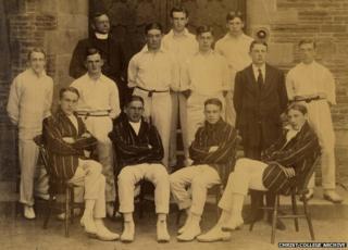 Christ College Brecon cricket team - David Cuthbert Thomas front row, far right