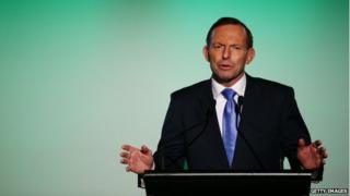 Australia's Prime Minister Tony Abbott speaks at the Museum of Contemporary Art on 9 May, in Sydney.