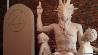 A model of a statue of Baphomet created by The Satanic Temple of New York.