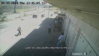 Screengrab of a video purportedly showing two teenage Palestinians being shot dead by Israeli security forces at a protest on 15 May 2014