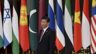 Chinese President Xi Jinping arrives to welcome leaders before the opening ceremony at the fourth Conference on Interaction and Confidence Building Measures in Asia (CICA) summit in Shanghai, China on 21 May.