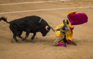 Spanish bullfighter David Mora is tossed by a El Ventorrillo ranch fighting bull during a bullfight at Las Ventas bullring in Madrid, Spain, Tuesday, May 20, 2014