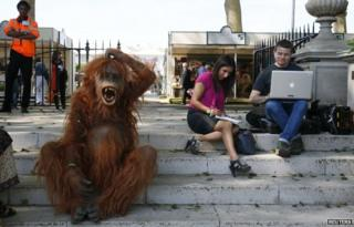 A man dressed as an orangutan sits next to members of the press during media day at the Chelsea Flower Show.