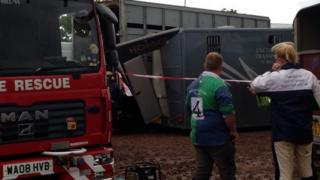 Damaged horse box at Devon County Show