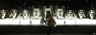 Real Madrid's trophies on display at the Santiago Bernabeu stadium in Madrid, Spain.