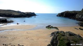 A beach near Trearddur Bay on Anglesey