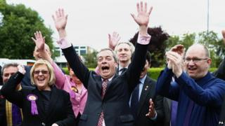 Nigel Farage celebrating with supporters