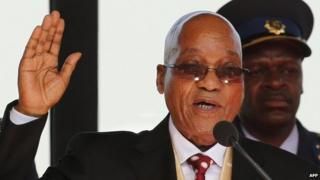 South African President Jacob Zuma takes the oath during his inauguration ceremony at the Union Buildings in Pretoria May 24, 2014.