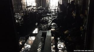 Burnt-out library