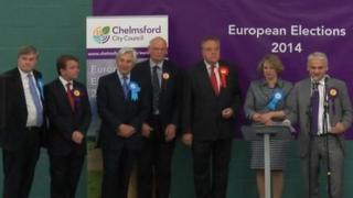 Winning candidates at the Euro election count in Chelmsford