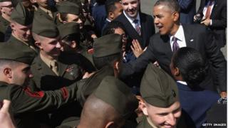 President Obama with US Marines in Washington DC (April 2014)