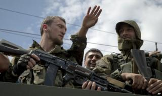 Pro-separatist gunmen in Donetsk city centre, 25 May