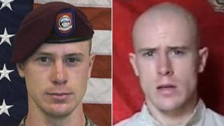 Composite image showing Sgt Bowe Bergdahl left, in US marine uniform ahead of his June 2009 capture and right, in a video released shortly after his capture, pics courtesy of Reuters and AFP