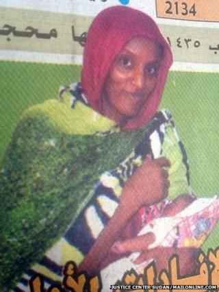 Meriam Ibrahim holding her daughter