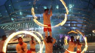 Sri Lankan fire dancers