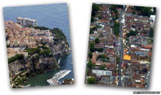Monaco (left) and Stevenage (right)