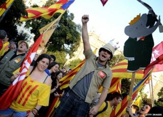 Demonstrators rally in favour of a Spanish republic