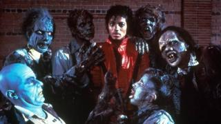 Michael Jackson with zombies in his 1983 Thriller video