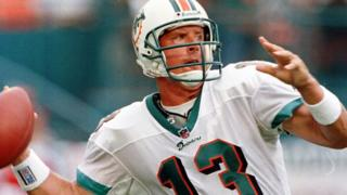 A photograph of quarterback Dan Marino from his days as an NFL star.