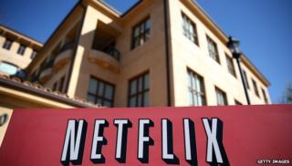 Netflix logo outside building