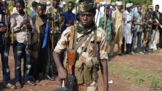Seleka fighters in Molemi, Central African Republic. 5 June 2014