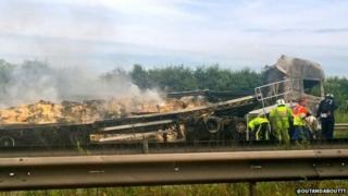 Lorry fire on M6