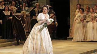 Olga Peretyatko during a dress rehearsal at the Metropolitan Opera in New York, for Vincenzo Bellini's I Puritani, April 2014.