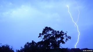 Lightning over Denbigh on Saturday morning