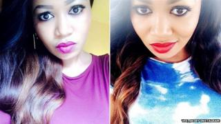 Two photos of Vera Sidika from her Instagram page where her skin looks light