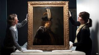 Cirsty Jones conservation Assistant & Patricia Burtnyk House & collections manager, Buckland Abbey with the Rembrandt