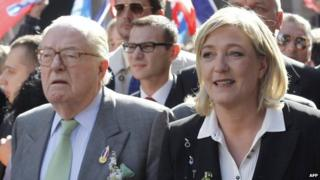 Front National founder Jean-Marie Le Pen with his daughter, FN leader, Marine Le Pen (right) in 2012