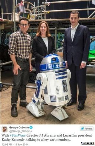 George Osborne with JJ Abrams, Kathleen Kennedy and R2-D2