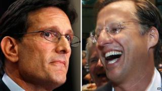 Photos of House Majority Leader Eric Cantor and his primary opponent David Brat.